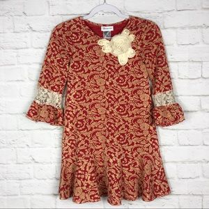 Bonnie Jean Filigree Lace Bell Sleeve Floral Dress